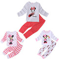 Autumn Cotton Kids Toddler Baby Girls Cartoon Cute Minnie Mouse Long Sleeve Dot Striped 2Pcs Sets 2-6Years