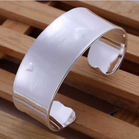 B115 925 sterling silver jewelry big cuff with heart bangle cuff bracelet for women fine jewlery ,wholesale jewelry
