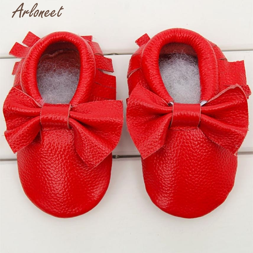 2017 Baby Moccasins Bow Shoes Firstwalker Anti-slip Leather Infant Shoes