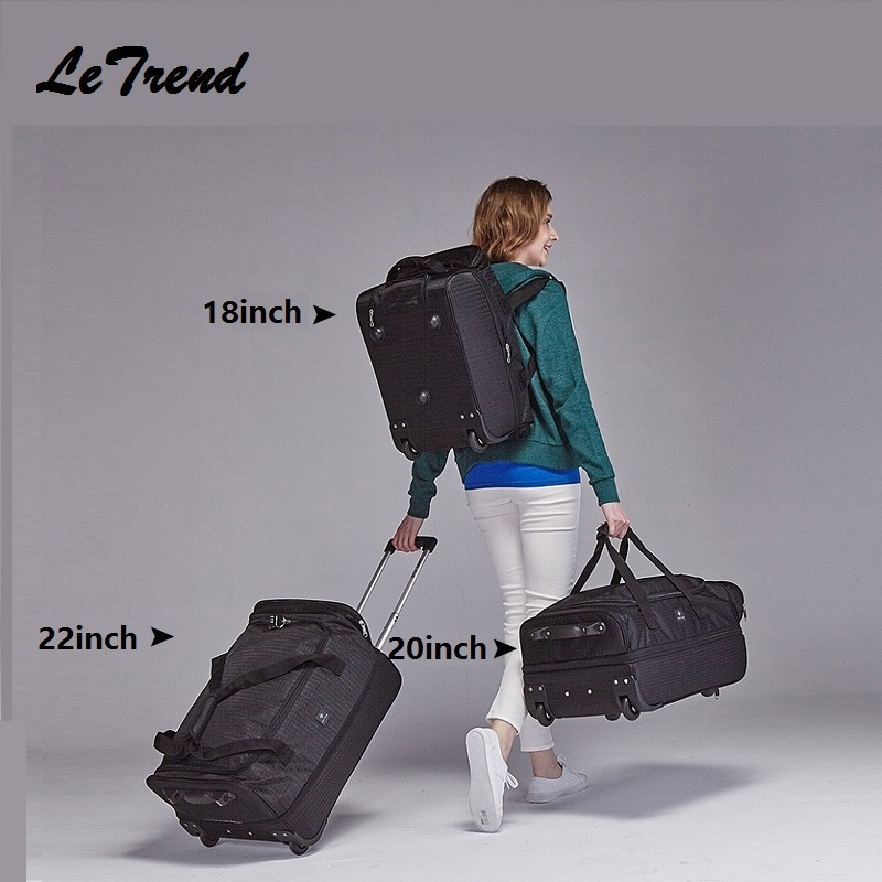 Fashion 18/20/22 Inch Extensible Backpack Travel Bag Casters Trolley Carry On Wheels Women Waterproof Multi-function Bag