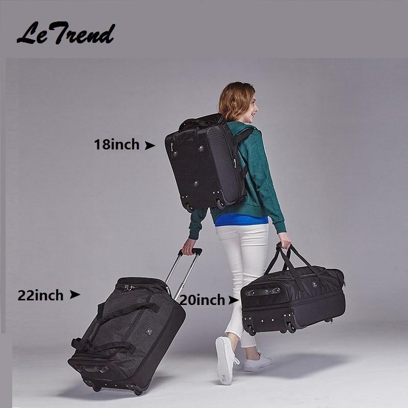 Mode 18/20/22 pouces Extensible sac à dos sac de voyage roulettes chariot à roulettes femmes étanche multi-fonction sac