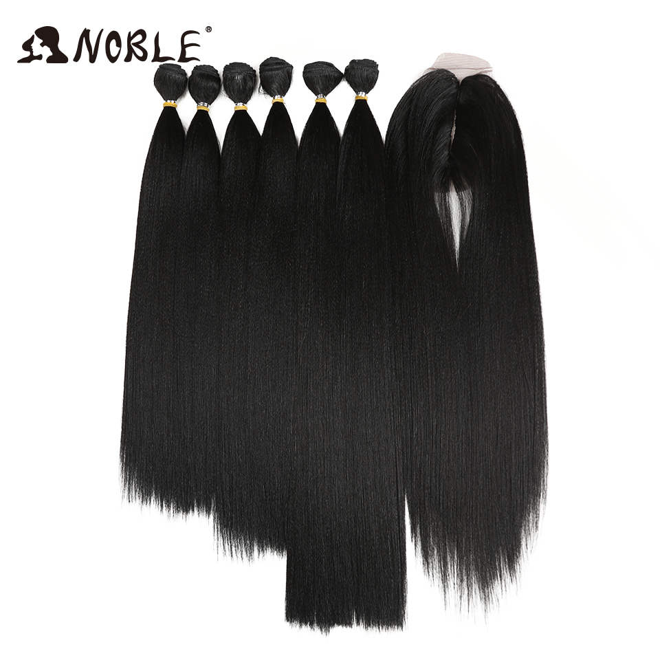 Noble Synthetic Hair Kinky Straight Hair Bundles 7Pcs/Pack Ombre Bundles Hair Extension Bundles With Closure Kinky Straight Hair