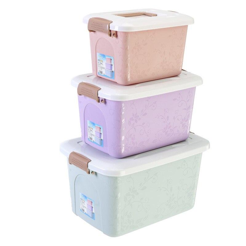 Creative plastique Portable jouet boîte de rangement trois pièces multi-fonction maison garde-robe articles divers enfants vêtements boîtes de rangement