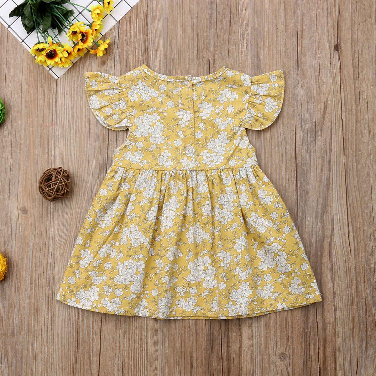 3024c54bc ... Otoño niño niños niñas Floral Fly manga verano vestido Sundress ropa