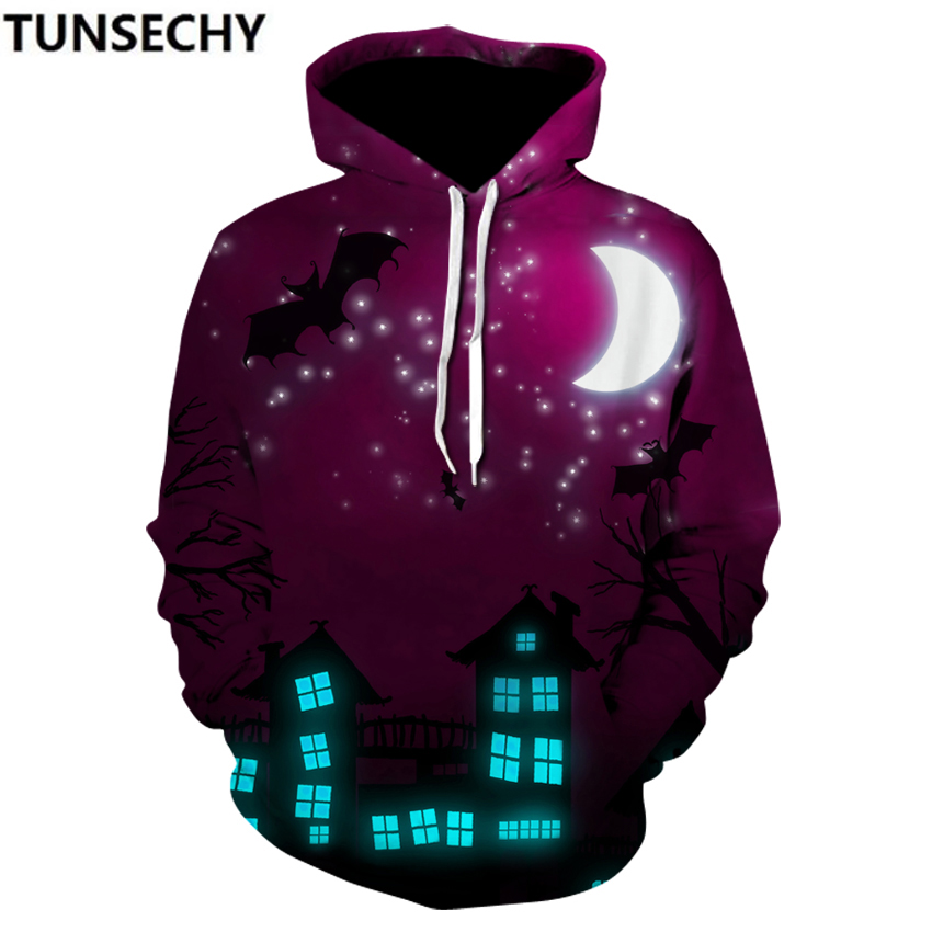 New 2018 hot style spring outfit pullover pumpkinlamp digital printing 3D hooded hooded casual men's clothing wholesale and ret