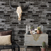 Chinese Vintage Brick Wallpaper 3D Black Stone Brick Wallpaper Living Room Dining Room Bedroom Waterproof Wallpaper