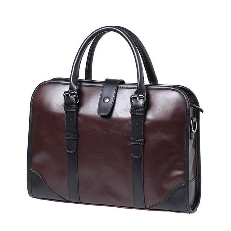 High Quality Leather Briefcases Men Maletin Hombre Handbag Fashion Serviette Affaire New Bag Men Business Men