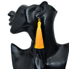 Bing Tu Bohemia Tassel Earrings Women Long Clip Earing Ethnic Jewellery Blue Pink Grey No Hole Ear Cuff Earring Indian Earings(China)