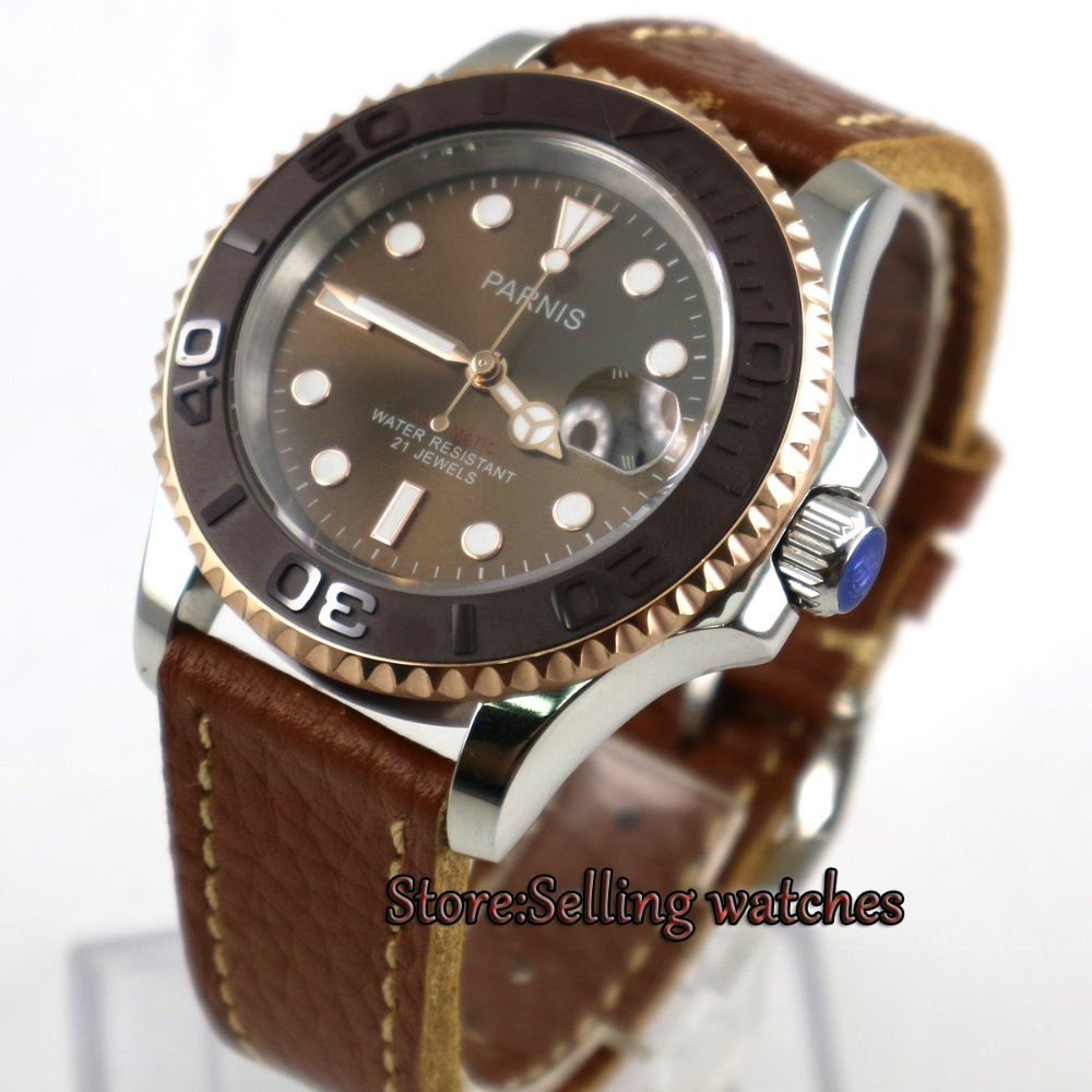 41mm Parnis Coffee dial Brown strap Sapphire glass Ceramic bezel miyota automatic mens watch