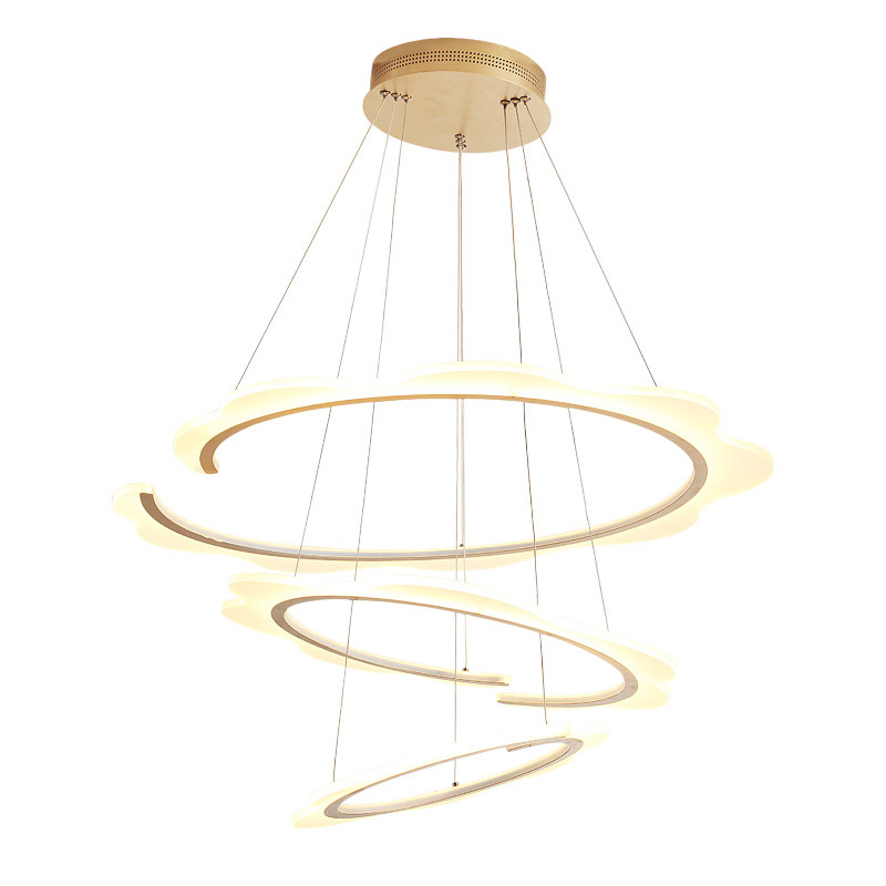 Modern Led Ring Pendant Light Kitchen Dining Living Room Hanging Rope lamp Silver Gold Base Home Lighting With Remote Control modern crystal chandelier led hanging lighting european style glass chandeliers light for living dining room restaurant decor