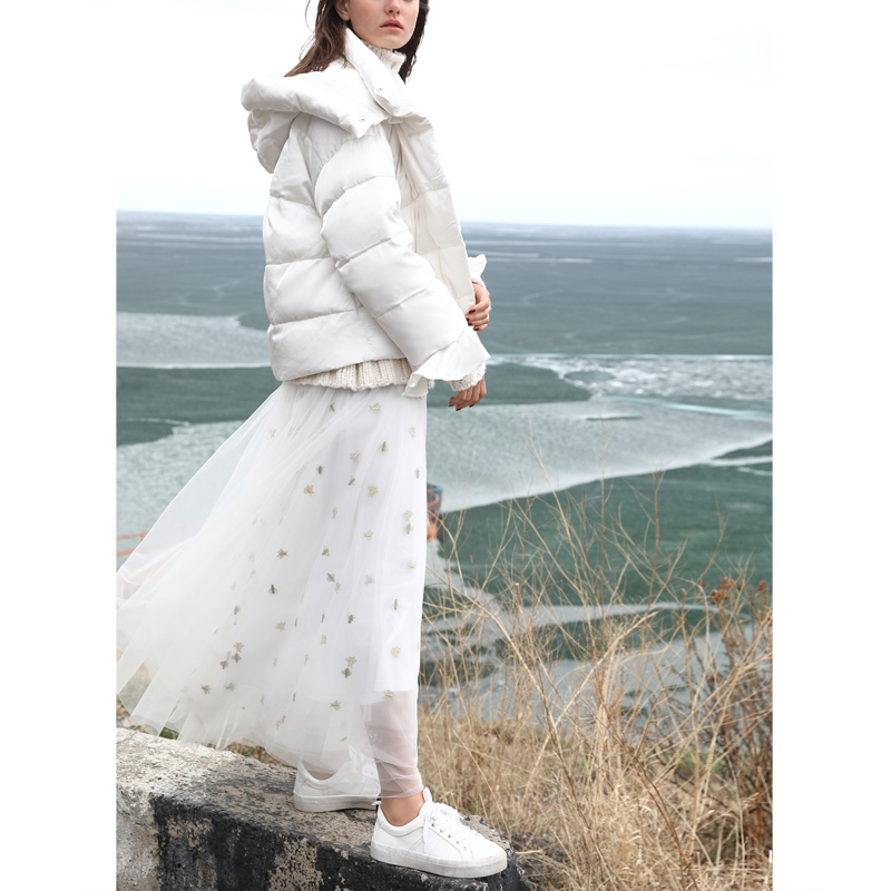 2018 Black Coat Down Causalité Canard Femmes Court Amii Minimaliste Patchwork Solide Bas Le De Veste white Capuchon Duvet Coat Épais Blanc Vers D'hiver Manteau À 0FSwR