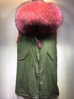 2018 Khaki long vest winter thickness furs lined raccoon fur collar parka women sleevless jacket wear