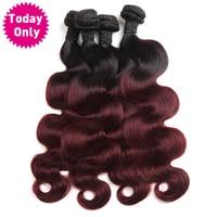 [今日のみ]ブルゴーニュブラジル実体波バンドルオンブル人間の髪織りバンドル二つトーン1b 99j非レミー髪缶購入3または4 pc