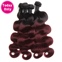 Today Only Ombre Brazilian Body Wave Bundles Remy Human Hair Extensions Burgundy Two Tone Human Hair