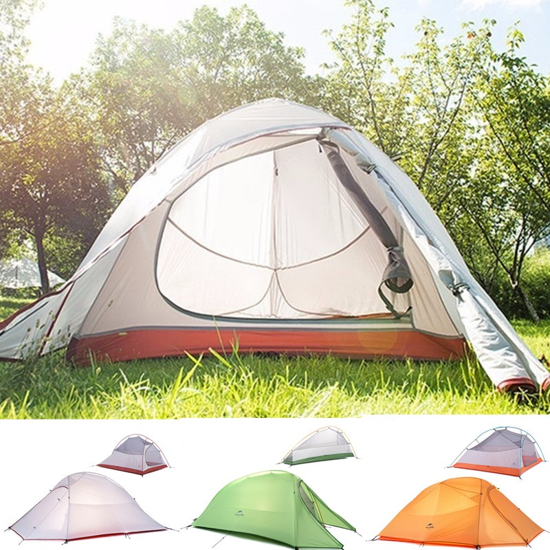 Camping Tent  2 Person outdoor 20D Silicone Fabric Ultralight 2 Person Double Layers Aluminum Rod Camping Tent 4 Season With Mat 995g camping inner tent ultralight 3 4 person outdoor 20d nylon sides silicon coating rodless pyramid large tent campin 3 season