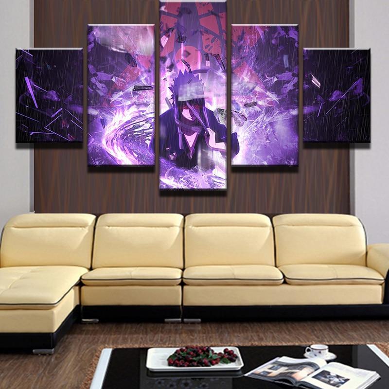 HD 5 Panels Modular Picture Cartoon Characters PrintedNaruto Anime Uchiha Sasuke Print Paintings Homes Decoration Canvas Posters