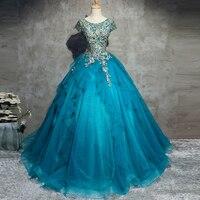 vestidos de formatura long 2018 new lace short sleeve fluffy turquoise blue prom dresses cheap gala jurken beautiful