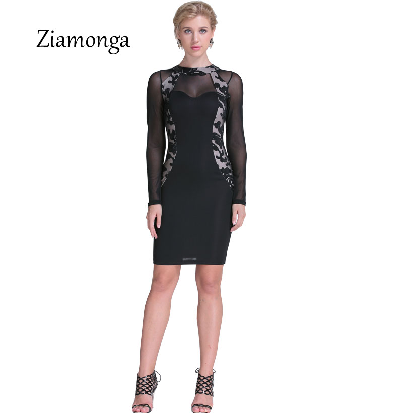 Ziamonga Women Long Sleeve Mesh Patchwork Sequined Dress Sexy Vintage Party  Black Pencil Bodycon Dress Clubwear 68b2d738caae