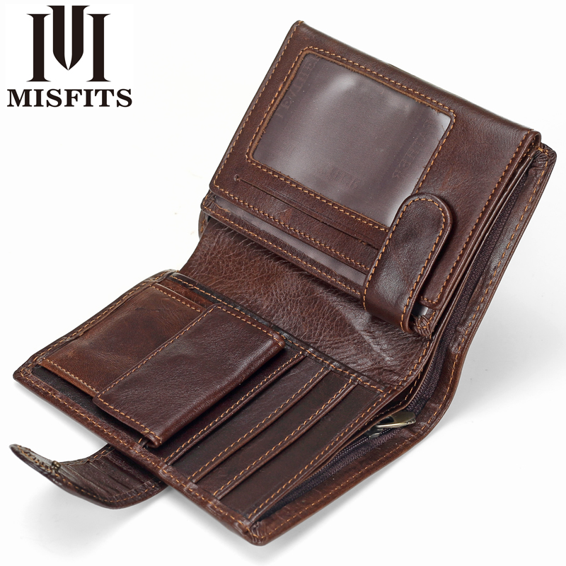 MISFITS Wallets Male Photo-Card-Holder Short Coin-Pocket Cowhide Multifunctional Vintage