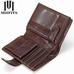 MISFITS Винтаж Для мужчин бумажник из натуральной кожи короткие кошельки Мужской многофункциональный коровьей мужской кошелек монет