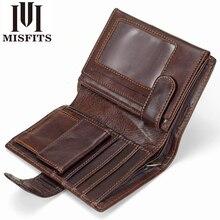 MISFITS Vintage portfel męski oryginalne skórzane krótkie portfele męskie wielofunkcyjne skóry wołowej mężczyzna moneta kieszonkowy fotokartka Holder