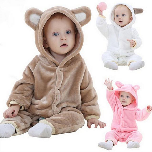 Novo 2016, outono primavera roupas, romper do bebê, roupa quente, recém nascido, coral do velo do bebê meninas meninos roupas, para 3-24 M