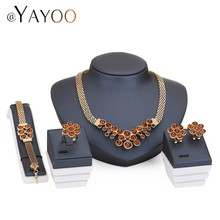 Wedding Bridal Imitation Crystal Jewelry Sets For Women Fashion Gold Plated Pendant Lady Rhinestone Statement Necklace Earrings