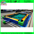 Guangzhou Qinda inflatable table soccer snooker pool game inflatable billboard table football with 16 balls