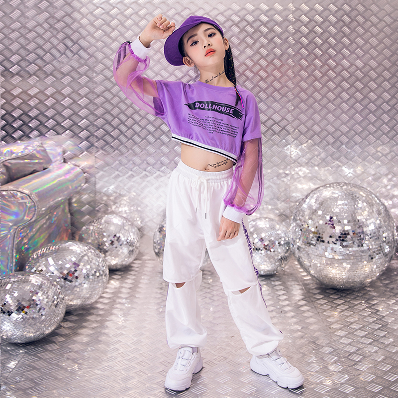 Girls Jazz Costumes Kids Street Dance Clothing Purple Long Sleeve Top Gauze Children HipHop Clothes Girls Dance Costume BL1867