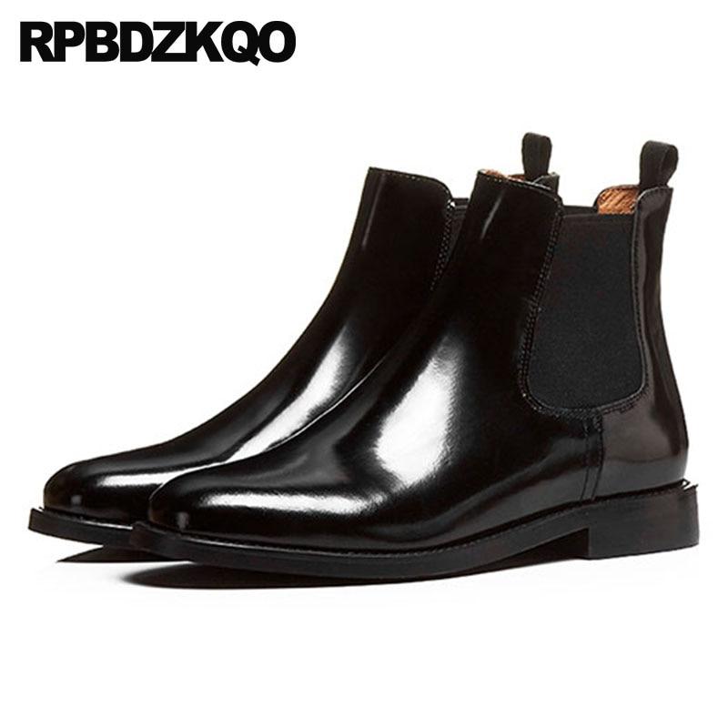 купить Chunky Patent Leather Metal Rivet Stud British Plus Size Black Big 10 Slip On Women Ankle Boots Medium Heel Shoes Chelsea онлайн