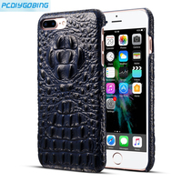 PCDG Geunine Leather Phone Case For IPhone 7 8 Plus Ultrathin Crocodile Leather Back Case For