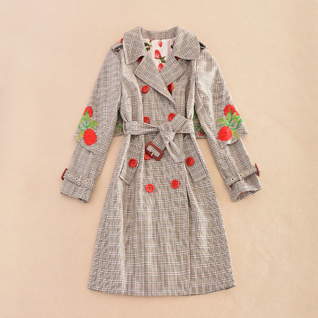HIGH QUALITY Newest 2016 Winter Designer Coat Women's Cape Cloak Sleeve Bird Embroidery Plaid Trench Outer