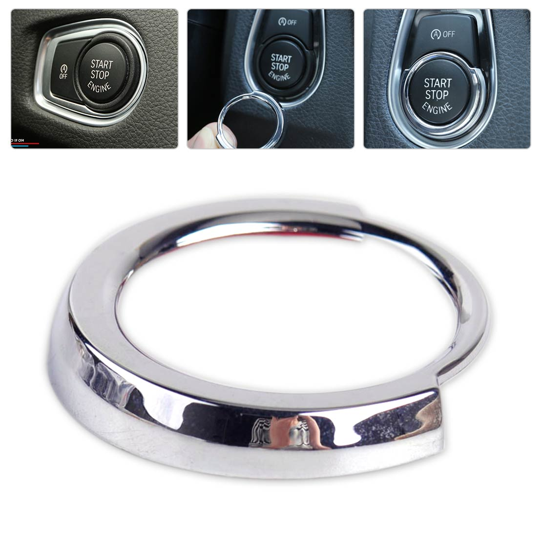 beler Car Accessories Chrome Plated Engine Start Stop Button Switch Decorative Frame Cover Trim for BMW F30 F20 2013 2014-2016