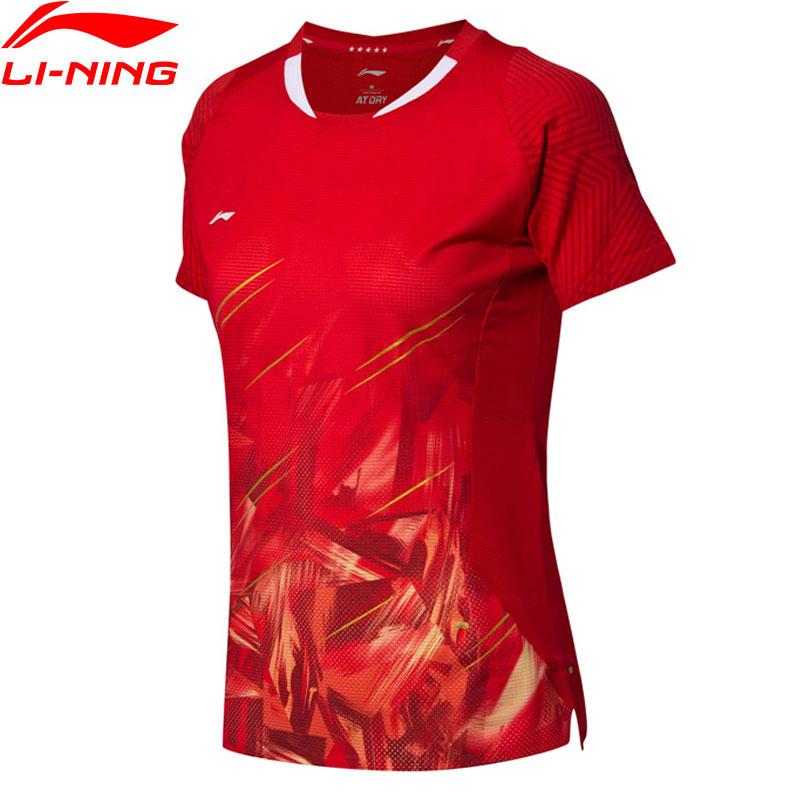T-Shirt de Badminton femme li-ning respirant à sec équipe nationale doublure compétition sport t-shirts hauts T-Shirt AAYN104 WTS1453