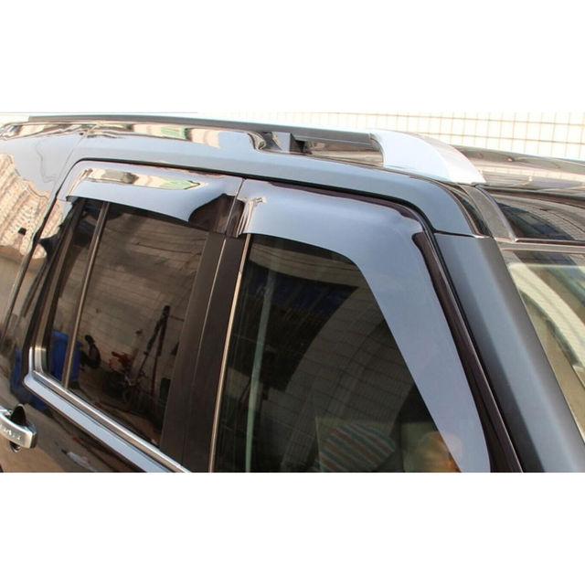 4PCS Auto Car Window Body Side Deflector Guards Sun Rain Visor Shield Cover Shelters Black Fit For Land Rover LR4 LR3 2009-2015