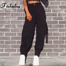 Fitshinling, уличная одежда, высокая талия, брюки-карго, Капри, женские, Осень-зима 2018, тонкие, черные, свободные, мешковатые брюки для бега для женщин