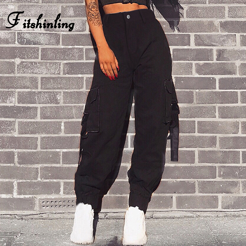 Fitshinling Streetwear high waist cargo <font><b>pants</b></font> capris female 2018 autumn winter slim black loose <font><b>baggy</b></font> joggers trouser for <font><b>women</b></font> image