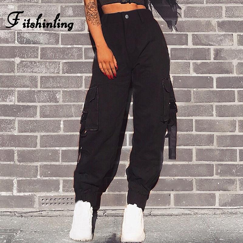 Fitshinling Streetwear high waist cargo   pants     capris   female 2018 autumn winter slim black loose baggy joggers trouser for women