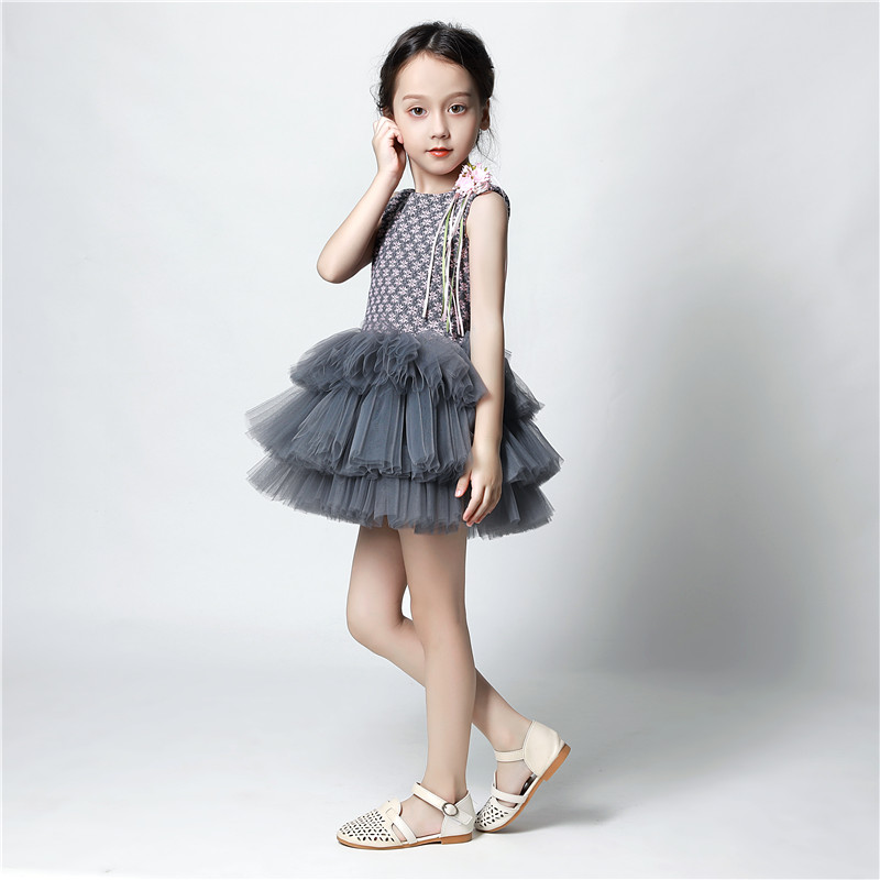 Sweet Grey Plaid Pleated Tulle A-line Mini   Flower     Girl     Dresses   for Wedding First Communion Gowns   Girls   Special Occasion   Dresses