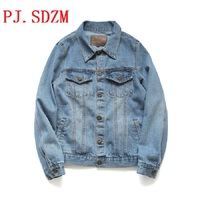 PJ SDZM 2017 New Arrival Men Jacket Jeans Retro Loose Fashion His And Hers Outwear Plus