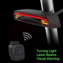 אופניים אלחוטי אחורי אור אופני איתות מרחוק בקרת בטיחות LED אזהרת טאיליט USB נטען עם סוללה