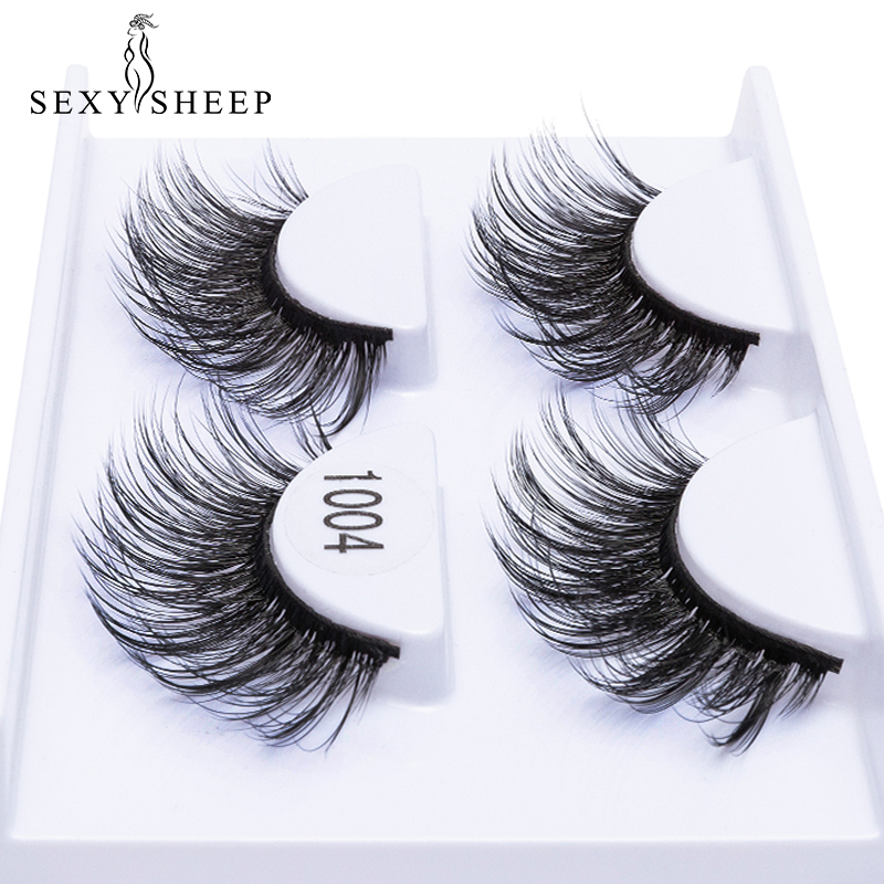3ec59686f37 2 Pairs Natural False Eyelashes For Beauty Fake Lashes Long Makeup 3D Mink  Lashes