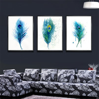YongHe Abstract Home Decorative Painting peacock feathers Three Picture Combination Spray Painting wall deco Frameless 3pcs/set