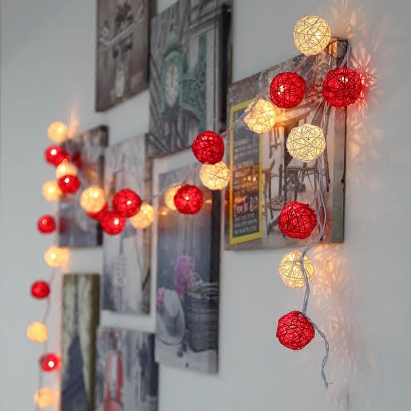 220V 5M 28Led String Lights 4cm Rattan Ball Lantern Fairy Lights Wedding Curtain Christmas Decoration For Patio Home Garland