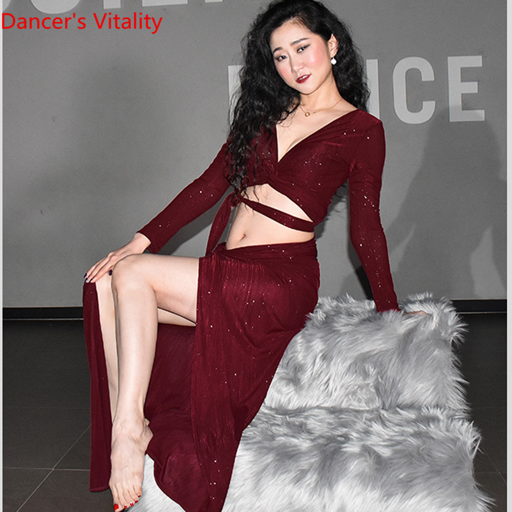 New Belly Dance Garment for Beginners in Spring and Summer of 2019 Women Dance CLothes ,S,M,L green and Wine red image