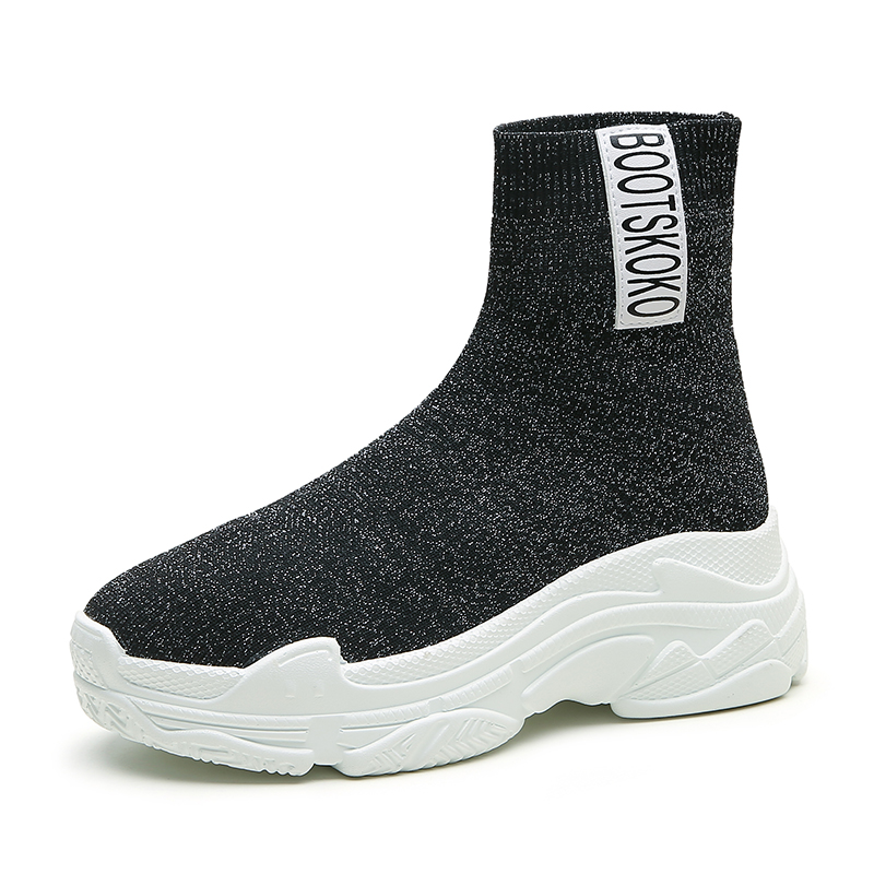 SWYIVY Sapatos Meia Tornozelo Quente High Top Sneakers Plataforma 2018  Outono Trecho Elástico Feminino Sapatos Casuais 68e3b38eb62f4