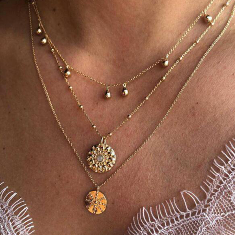 Women BOHO Shell Eyes Round Geometric Pendant Crystal Chain Multilayer Necklace