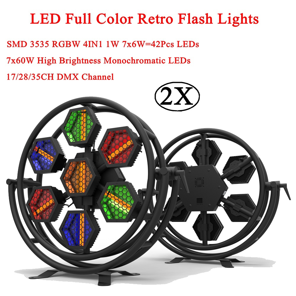 2Pcs/Lot High Brightness 500W LED Full Color Retro Flash Lights 1600K Color Temperature Sound Projector Lamp Music Party Light