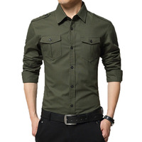 Men clothes 2018 military pure cotton shirt long sleeved casual men shirt Epaulets with double pockets solid color shirts