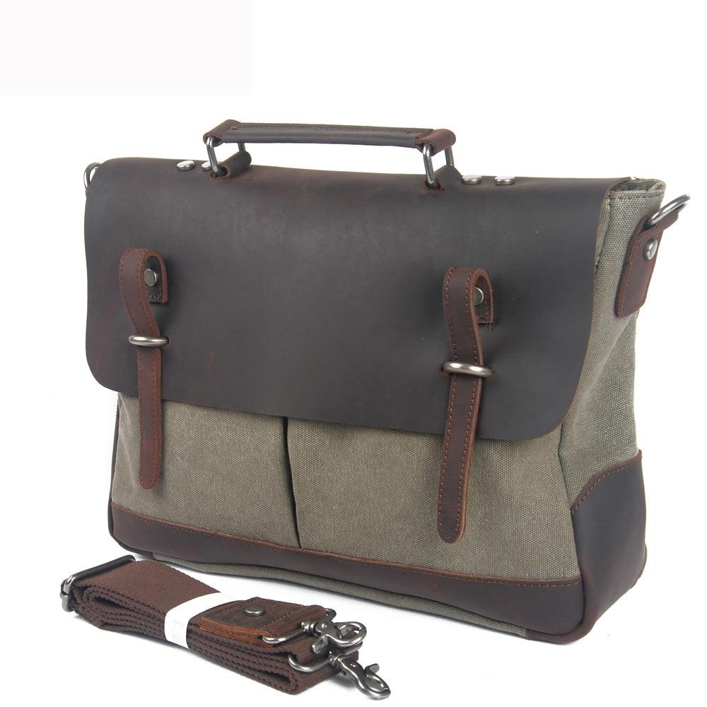 c6df9b3b375c Redswan Unisex Canvas Crazy Horse Leather Bag Man Travel Briefcase Bags  Vintage messenger Shoulder Laptop Bag